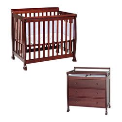 Da Vinci - DaVinci Kalani Convertible Mini Wood Crib Set With Changing Table in Cherry - Da Vinci - Baby Crib Sets - M5598CM5555Cpkg - DaVinci Kalani Convertible Mini Wood Crib Set With Changing Table in Cherry