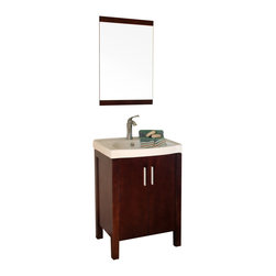 Bellaterra Home - 23.8 Inch Single Sink Vanity-Dark Walnut-Wood - This single bathroom vanity has a vertical, clean design vanity. Built with solid wood and finished with rich walnut finish, installed with genuine Blum soft closing door hinges, its simple elegance opens to reveal a true modern design. The interior is finished to match the exterior and it has a shelf for storage. The cabinet also has a large cutout in the back makes plumbing installation very simple. This stunning vanity is excellent for any bathroom.