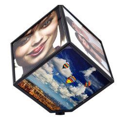 None - Revolving 6-photo Display Cube - Showcase up to six favorite photos in style with this unique revolving display cube. This battery-powered photo cube creates a fun and personalized look on your desktop or shelf and gives you a unique way to display treasured photos.