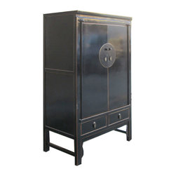 Golden Lotus - Chinese Black Lacquer Moon Face Tall Cabinet Armoire Cabinet - Look at this Chinese black lacquer moon face cabinet which is made of solid elm wood.  It can be also used as armoire.