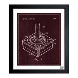 "The Oliver Gal Artist Co. - ''Joystick Controller 1980' 15""x18"" Framed Art - Exclusive blueprints inspired by real vintage patent drawings & illustrations. Handcrafted in the Oliver Gal Artist Co. Studios in Miami, Florida. Produced on matte proofing paper and hand framed by professional framers in a 1.2"" premium black wood frame. Perfect for any interior design project, gifts, office décor, or to add special value to one of your favorite collections."