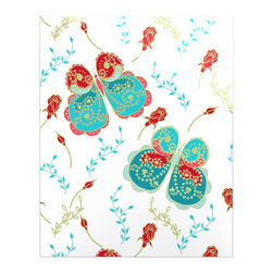 """Kess InHouse - Anneline Sophia """"Leafy Butterflies Red"""" Aqua Butterfly Metal Luxe Panel (16"""" x 2 - Our luxe KESS InHouse art panels are the perfect addition to your super fab living room, dining room, bedroom or bathroom. Heck, we have customers that have them in their sunrooms. These items are the art equivalent to flat screens. They offer a bright splash of color in a sleek and elegant way. They are available in square and rectangle sizes. Comes with a shadow mount for an even sleeker finish. By infusing the dyes of the artwork directly onto specially coated metal panels, the artwork is extremely durable and will showcase the exceptional detail. Use them together to make large art installations or showcase them individually. Our KESS InHouse Art Panels will jump off your walls. We can't wait to see what our interior design savvy clients will come up with next."""