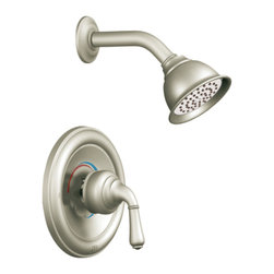 "Moen - Moen T2444EPBN Brushed Nickel Shower Valve Trim, 1-Handle 1-Function Cartridge - Moen T2444EPBN is part of the Monticello bath collection. Moen T2444EPBN is a new bathroom decor style by Moen. Moen T2444EPBN has a Brushed Nickel finish. Moen T2444EPBN Posi-Temp Shower valve only trim fits any MPact common valve system or MPact Posi-Temp 1/2"" valve available separately. Moen T2444EPBN is part of the Monticello bath collection with its simple beauty and elegant lines this collection brings a timeless design into any homes decor. Moen T2444EPBN Shower valve trim includes single-function pressure balancing Cartridge. Moen T2444EPBN is a single handle shower valve trim only, the handle adjusts temperature. Moen T2444EPBN valve only single handle trim provides for ease of operation. Moen T2444EPBN Posi-Temp pressure balancing valve maintains water pressure and controls temperature. Moen T2444EPBN includes eco-performance Moenfl"" xL single function showerhead 1.75 GPM max. Moen T2444EPBN is ADA approved. Brushed Nickel is an exclusive finish from Moen and provides style and durability. Moen T2444EPBN metal lever handle meets all requirements ofADA ICC/ANSI A117.1 and CSA to meet CSA B-125, ASME A112.18.1 M. Lifetime Limited Warranty."