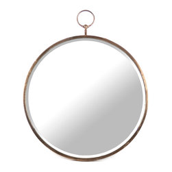 Zentique - Paola Mirror - The Paola Mirror features a rustic copper, stopwatch shaped frame.