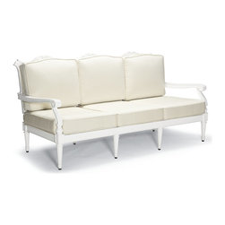 Frontgate - Glen Isle Outdoor Sofa with Cushions in White Finish, Patio Furniture - Neoclassical-inspired fine-furniture design. Highly detailed frames double-cast in solid 100% ingot aluminum. Hand-filed welds. Mutiple powdercoatings with a UV-inhibiting topcoat. All-weather cushions have a high-resiliency foam core wrapped in plush polyester. We designed our Glen Isle White Seating Collection to be detail rich, estate scaled, and admired for years. Inspired by neoclassical interiors, the aluminum frames are expertly double-cast in molds that are handcarved by master artisans. The result is an extraordinary level of detail that is rarely, if ever found in outdoor furniture collections. Premium 100% solution-dyed fabrics encase the elegantly notched cushions. Accent tabletops are crowned with cast quatrefoil cutouts.  .  .  .  .  . 100% solution-dyed acrylic fabrics . Cushions with Velcro ties . Cushions also available with 100% waterproof Sunbrella Rain performance fabric. Tables require assembly .