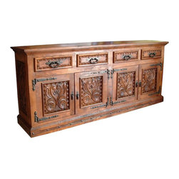 Mexican Artisans - Grande Mesquite Hand Carved Buffet - Indeed Decor's extraordinary Mesquite Hand Carved Buffet deserves a place of honor in any dining room.  This exquisite work of art is large enough to store all of your entertaining essentials. This grand buffet measures 84″W x 44″H x 22″D.