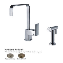 Whitehaus Collection - Whitehaus WH2070824-BN Single Handle Faucet With Side Spray In Brushed Nick - Jem Collection single lever handle faucet with a solid brass side spray