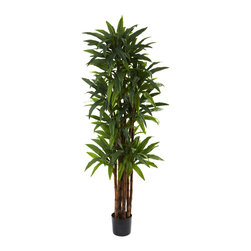 """Nearly Natural - Nearly Natural 6.5' Dracaena Tree - Bring nature's beauty indoors, year-round with this exceptional Dracaena tree. Standing a robust 78"""" in height (that's six and a half feet), it has 8 straight trunks and more than 200 individual leaves, ensuring that it'll feel like the jungle no matter where you place it. Ideal for home or office decorating, it makes a perfect gift as well."""