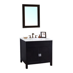 Bellaterra Home - 36 Inch Single Sink Vanity-Wood-Ebony - Ideal for a contemporary home, this transitional single bathroom vanity has a beautifully simple design. Two doors open up to shelves that provide plenty of storage space for small or large items. A raised trim surrounds the doors and sides. The cabinet is construction with solid birch wood and finished in black finish. It is carefully finished in multiple layer of top coat to endure water proof surface to withstand humidity in bathroom. Birch + plywood
