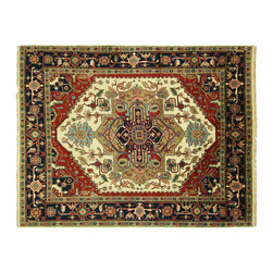 Manhattan Rugs - Unique Ivory-Red-Navy Blue Bored Heriz 8'x10' Hand Knotted Wool Floral Rug H5465 - Heriz is situated in the northwestern part of Iran (Persia).  Though the term covers Hand knotted rugs of numerous small villages in the area, the most beautiful Rugs were woven in Heriz itself For the last 100 years, the Heriz carpet designs have basically remained the same, with only small variations in color pallets and density of the design. The late 19th Century Rug (so called Serapis) was of fewer details and softer colors and with time designs became denser with added jewel tone color pallets. The revival of the carpet industry in the late 19th Century was based on the demand of the Western markets, with America in particular. Weavers in Heriz hand knotted were asked to make carpets inspired by the Fereghan Sarouks of higher cost for consumers of more limited budgets. Even though Sarouk carpets changed style later on, Heriz weavers stayed with the geometric pattern till now.  However, Heriz was also a center of production of some of the best handmade carpets with both geometric and curvilinear floral patterns.  A special heirloom wash produces the subtle color variations that give rugs their distinctive antique look.