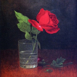 """Martin Johnson Heade A Single Rose in a Glass  Print - 16"""" x 24"""" Martin Johnson Heade A Single Rose in a Glass premium archival print reproduced to meet museum quality standards. Our museum quality archival prints are produced using high-precision print technology for a more accurate reproduction printed on high quality, heavyweight matte presentation paper with fade-resistant, archival inks. Our progressive business model allows us to offer works of art to you at the best wholesale pricing, significantly less than art gallery prices, affordable to all. This line of artwork is produced with extra white border space (if you choose to have it framed, for your framer to work with to frame properly or utilize a larger mat and/or frame).  We present a comprehensive collection of exceptional art reproductions byMartin Johnson Heade."""