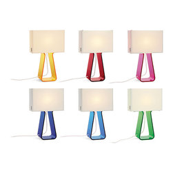 Pablo - Pablo - Pablo Tube Top Colors Table Lamp - A minimalist statement in form and proportion Tube Top combines a transparent formed acrylic base to support its elegant mesh fabric shade in tension, steering away from conventional modes of construction. Its lightweight shade appears to float freely, gently tethered by its fabric cord. Its remarkable illumination is controlled by a full range of dimmer to create any desired ambiance. Perfect for any toddlers room or the child in you. Mix and match them for the ultimate in color layering. Designed by Peter Stathis in 2008.