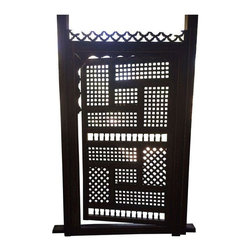 Used Antique Moroccan Gate - A large scale, high-impact piece of art, in the form of a hand painted antique Moroccan gate. Originally purchased in Morocco, the heavy wooden gate is in excellent condition with details you must see to believe.