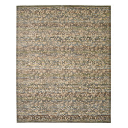 """Nourison - Nourison Rhapsody RH012 (Blue, Moss) 5'6"""" x 8' Rug - The Rhapsody collection is a modern mix of European and Persian textile traditions in lively, sophisticated patterns and colors."""
