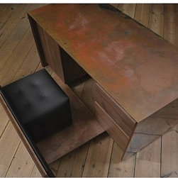 Copper Desk by Paul Kelley - Copper cube that conceals a secret desk arrangement when panel is pulled away to reveal a leather chair, drawers and filing cabinet.