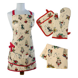 Sin in Linen - Flash Tattoo Kitchen Linen Set - Wear your tattoos without the pain. These tattoo kitchen linens feature flash style images of pinups, panthers, pirate ships and more. Includes 1 apron, oven mitt, potholder and dish towel.