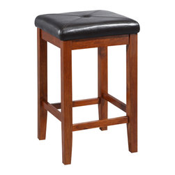 Crosley - Upholstered Square Seat Bar Stool in Classic Cherry Finish with 24 Inch Seat Hei - Constructed of solid hardwood, this X-Back style bar stool is designed for longevity. Contoured seats and shaped back provide the ultimate in comfort. Skilled craftsmanship and attention to detail is sure to put the finishing touch on your home.