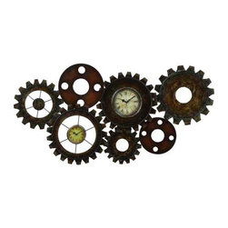 "Rusty Metal Gears Wall Clock 13498 - Rusty Metal Gears Wall Clock features seven metal gears of various shapes and sizes with rust look finish. Two clocks are featured in two of the gears. 34"" x 17"""