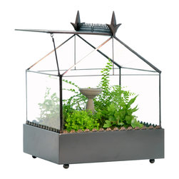 H Potter - Terrarium With Accented Roof - Here's a garden that won't take you all weekend to tend. It features a gothic revival roof, base trim and a hinged panel for ventilation and easy maintenance. Keep your green thumb without the bugs, sun,  sweat and nosy neighbors.