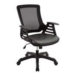 "LexMod - Veer Office Chair in Black - Veer Office Chair in Black - Chart new territory while seated from the comfort of the Veer Chair. Veer features a form-fitted breathable mesh back and padded waterfall vinyl seat to keep your back and thighs posture perfect. Securely lock your back in place with a user friendly seat tilt plus tension control knob--perfect for adjusting the chair to correctly fit your body weight. Adjust the seat height with a one-touch pneumatic lift with hooded dual-wheel casters to ensure effortless gliding over carpeted offices. Veer is a chair built for the progressive worker. Make yourself stand out as you venture forth from a place of naturally efficacious activities. Set Includes: One - Veer Office Chair with Ladder Arms Breathable mesh back, Sponge seat covered with vinyl, Pneumatic height adjustment, Tilt tension control, Ladder-designed arms, Chair Weight Capacity - 330lbs. Overall Product Dimensions: 25""L x 24""W x 37 - 41""H Armrest: .5""W x 25.5 - 29.5""H Seat: 18.5""L x 17.5 - 21.5""HBACKrest Height: 23""H - Mid Century Modern Furniture."