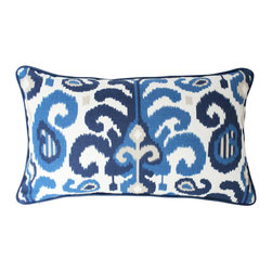 The Pillow Studio - Blue and Tan Ikat Rasul Pillow Cover with Navy Blue Piping - I love the variations of blues and tans in this fabric.