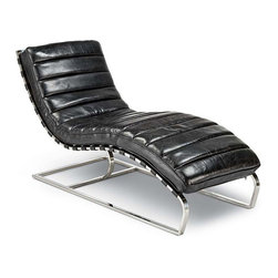 "Regina Andrew - Regina Andrew Vintage Black Lounge Chaise - A retro approach to relaxation, this chaise lounge by Regina Andrew strikes the perfect balance between modern and vintage. Its black leather cushion offers luxurious comfort, curving to the ergonomic shape of the chaise's cantilevered design. 24.5""W x 58.5""D x 34.5""H. Metal frame. Distressed vintage black cushion held on with straps."