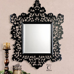 "Melaney - This ornate mirror features and open design frame finished in glossy black. Mirror has a generous 1 1/4"" bevel. Designer: Billy Moon Dimensions: 34 W X 43 H X 2 D"