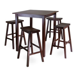 Winsome - Parkland 5pc High/Pub Table Set - Parkland 5pc High/Pub Table Set with 4 Saddle Seat Stools