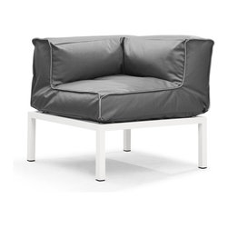 Zuo Modern - Zuo Modern Copacabana Outdoor Corner Sofa / Chair X-118107 - The Copacabana collection is designed for funky versatility. This set has modular pieces of an armless chair, a corner armchair, an ottoman, and a table. The cover is made from a completely waterproof and UV resistant polyester fiber. The frame is made from an epoxy coated aluminum. The fill is 100% pure polystyrene beads. All the cushions can be attached via durable oversize zipper. Have fun with the cushions and throw them in the pool...they will float!