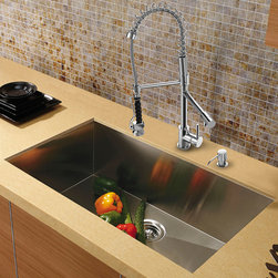 """Vigo - All in One 30"""" Undermount Stainless Steel Kitchen Sink & Chrome Faucet Set - Add some sophistication to your kitchen with a VIGO All in One Kitchen Set featuring a 30"""" Undermount kitchen sink, faucet, soap dispenser, matching bottom grid, and sink strainer.; The VG3019B single bowl sink is manufactured with 16 gauge premium 304 Series stainless steel construction with commercial grade premium satin finish; Fully undercoated and padded with a unique multi layer sound eliminating technology, which also prevents condensation.; All VIGO kitchen sinks are warranted against rust; Distinctive angular zero radius corner design with rear standard 3 1/2""""Drain placement; Exterior dimensions: 30""""W x 19""""D; Interior dimensions: 28""""W x 17""""D; Depth: 9 7/8""""; Required interior cabinet space: 32""""; Kitchen sink is cUPC and NSF-61 certified by IAPMO; All mounting hardware and cutout template provided for 1/8"""" reveal or flush installation; The VG02007CH kitchen faucet features a spiral pull-down spray head for powerful spray and separate spout for aerated flow, and is made of solid brass with chrome finish.; Includes a spray face that resists mineral buildup and is easy-to-clean; High-quality ceramic disc cartridge; Retractable 360-degree swivel spout expandable up to 20""""; Single lever water and temperature control; All mounting hardware and hot/cold waterlines are included; Water pressure tested for industry standard, 2.2 GPM Flow Rate; Standard US plumbing 3/8"""" connections; Faucet height: 27 1/4""""; Faucet spout reach: 10 1/8""""; Faucet sprayer reach: 8 1/8""""; Kitchen faucet is cUPC, NSF-61, and AB1953 certified by IAPMO.; Faucet is ADA Compliant; 2-hole installation with soap dispenser; Soap dispenser is solid brass with an elegant chrome finish and fits 1 1/2"""" opening with a 3 1/2"""" spout projection.; Matching bottom grids are chrome-plated stainless steel with vinyl feet and protective bumpers.; Sink strainer is made of durable solid brass in chrome finish; All VIGO kitchen sinks a"""