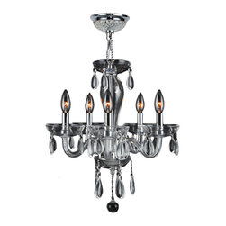 """Worldwide Lighting - Gatsby 5 Light Chrome Finish & Clear Blown Glass Chandelier 16"""" D x 18"""" H Mini - This stunning 5-light Chandelier only uses the best quality material and workmanship ensuring a beautiful heirloom quality piece. Featuring a radiant chrome finish and clear blown glass, this elegant chandelier is a work of art in its quality and beauty. Worldwide Lighting Corporation is a privately owned manufacturer of high quality crystal chandeliers, pendants, surface mounts, sconces and custom decorative lighting products for the residential, hospitality and commercial building markets. Our high quality crystals meet all standards of perfection, possessing lead oxide of 30% that is above industry standards and can be seen in prestigious homes, hotels, restaurants, casinos, and churches across the country. Our mission is to enhance your lighting needs with exceptional quality fixtures at a reasonable price."""
