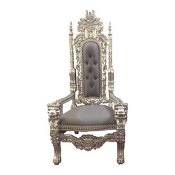 "Throne-King Chair, Silver/Silver - These LOUIS ""IV"" AND ""V"" throne chairs are hand carved from solid mahogany. Finished in satin brown and gold and silver leaf, upholstered with many different colors of vinyl with antiqued brass tacks. These ""King"" chairs are 6' tall."