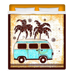 "Eco Friendly ""Surf Bus"" Queen Size Surfer Beach Sheet Set - Our Surf Bus Queen Size Sheet Set is made of a lightweight microfiber for the ultimate experience in softness~ extremely breathable!"