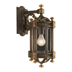 Fine Art Lamps - Beekman Place Outdoor Wall Mount, 564581ST - Small yet substantial, this wall-mounted exterior lantern will send a warm welcome to your family and guests. Its handblown seedy glass, woodsy weathered finish and solid brass accents make a noble first impression.
