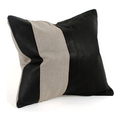 Striped Leather and Linen Pillow