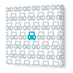 "Avalisa - Things That Go - Auto Pattern Stretched Wall Art, 12"" x 12"", Aqua - Feel free to toot your own horn about this design statement. The sleek look of stretched canvas and a cool, clever pattern are sure to bring a smile wherever you hang it."