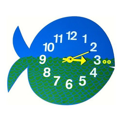 Vitra - Nelson Fish Clock - School your little fish on how to tell time and the elements of good design with this clock. Created by industrial design icon George Nelson in the mid-20th century, this fun and colorful fish is silk-screened on wood with metal hands and reliable quartz movement.