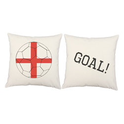 RoomCraft - England Flag Soccer Ball Pillow Cover Set 16x16 White Shams - FEATURES: