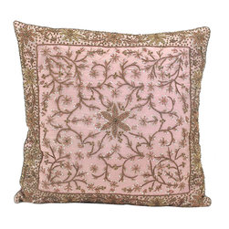 John Richard - John Richard Pil Rose Silk with Heavily JRS-03-3126 - Heavily embellished border of metallic embroidery on rose ground iridescent embroidered flower and all over vine center.
