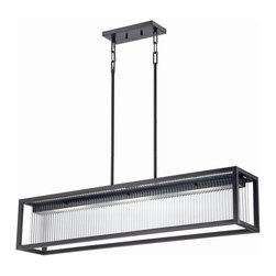 """Satco - Satco Bin Transitional LED Kitchen Island / Billiard Light X-901/26 - Textured black metal supports and ribbed glass panels form handsome wall and ceiling fixtures that deliver soft, diffused light and thoroughly modern energy efficiency. Includes (4) 12"""" and (4) 6"""" rods."""