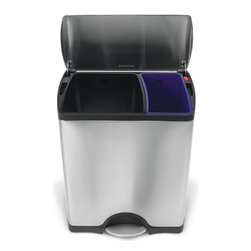 simplehuman - simplehuman Rectangular Step Brushed Stainless Steel Recycler Trash Can (12 Gall - Replace your regular bins with this stainless steel trash can from simplehuman to make recycling much simpler. There's no need to sort your trash into different bags because it has separate compartments inside so there's far less hassle and mess.