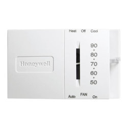 "HONEYWELL - HONEYWELL T-STAT HEAT/COOL SNAP ACTION - Honeywell -- thermostat for low voltage control of single-stage heating, cooling or heating/cooling systems. Integral switches control system and fan. Mount directly on wall or horizontal outlet box. Dimensions: 4-23/32"" W x 1-15/32""D x 2-27/32""H. Voltage: 24 volts. White. EcoSource Exclusive. Min. Order: 1 EA"