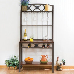 "Wildon Home � - Nelson Decorative II Baker's Rack - An excellent addition to any kitchen. This Baker's Rack not only puts things in a good location, it also provides storage for those hard to place items. The rectangular metal frame provides a rigid construction while incorporating lovely decorative scrolls. There is a bottom shelf that sits just slightly off the floor as well as a tabletop working surface both finished in rich mahogany. The main working surface is also enhanced by a wonderful wine rack directly beneath it. The upper two shelves contain glass insets that provide a beautiful display area with the top shelf sharing a wine glass holder at arm's reach. Features: -Baker's Rack.-Metal frame.-Scroll detailing.-2 Glass shelves.-Stemware hangers.-Wine rack.-Painted coffee brown metal finish.-1 Wooden shelf.-Finish: Brown.-Distressed: No.-Powder Coated Finish: No.-Shelf Material: Wood; Glass.-Solid Wood Construction: No.-Rust Resistant: No.-Fade Resistant: No.-Scratch Resistant: No.-Tarnish Resistant: No.-Stain Resistant: No.-Number of Shelves: 4.-Adjustable Shelves: No.-Removable Serving Tray: No.-Wine Bottle Capacity: 6.-Wine Glass Capacity: 6.-Foldable: No.-Product Weight Capacity: 70 lbs.-Shelf Weight Capacity: Counter Top - 40 lbs; Shelves - 15 lbs.-Outdoor Use: No.-Swatch Available: No.-Commercial Use: No.-Recycled Content: No.-Eco-Friendly: No.-Product Care: Wipe clean with a dry cloth.Dimensions: -Shelf Height: Bottom Shelf - 16""; Tabletop - 15"".-Shelf Width - Side to Side: 34"".-Shelf Depth - Front to Back: 15"".-Clearance from Floor to Bottom Shelf: 6"".-Overall Product Weight: 65 lbs.Assembly: -Assembly Required: Yes.-Additional Parts Required: No.Warranty: -Product Warranty: 1 Year Limited Manufacture Warranty."