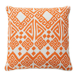 """Villa - Tangier Orange Pillow Set of 2 - Rich and expressive, the Tangier pillows assume the rich Moroccan style of their namesake. Iconic Greek key and chevron combine with geometric shapes to form their dynamic pattern in spicy orange. 22"""" Sq; Set of two; 100% linen; Solid orange piping; Includes 95/5 feather down pillow insert; Hidden zipper closure; Hand wash"""