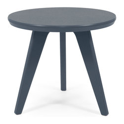 Loll Designs - Satellite End Round 18 Table, Charcoal Grey - In the context of outdoor lounging, a Loll Satellite accent table is a recycled polyethylene object placed into orbit around humans resting in Loll Furniture. Unlike the moon, the Loll Satellite Table actually rotates in conjunction with the Earth and her inhabitants, at just over 1,000 miles per hour, but appears to be sitting still. We think it's time for you to have your very own Satellite... perfect for star gazing on black nights with warm breezes and cold drinks. All Loll Satellite Tables are made with heavy duty 1 inch thick poly and available in an assortment of colors, shapes and sizes.