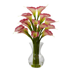 "Nearly Natural - Nearly Natural Galla Calla Lily with Vase Arrangement in Pink - Some people like exotic, and some people like classic. And if you're one of those people that wants a little of both, this Galla Calla Lily arrangement fits the bill and then some. Standing 26"" high from its glass vase (complete with faux water), this loving reproduction has a professional, classic look and feel, making it perfect for the office (or anywhere else you want some elegance.)"