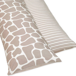 Sweet Jojo Designs - Sweet JoJo Designs Full Length Double Zippered Body Pillow Cover - Protect your body pillow from dirt and spills with this 100 percent cotton pillow cover. The reversible pillowcase features a taupe giraffe pattern on one side and stripes on the other,making it easy to match with your existing bed arrangement.
