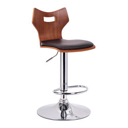 "Baxton Studio - Baxton Studio Amery Walnut and Black Modern Bar Stool - Enjoy hours of fun and entertainment at your counter or bar with a great stool!  Our Amery Modern Bar Chair takes a unique seat shape and pairs it with the beauty of walnut veneered plywood.  Plush foam cushioning and soft black faux leather finish off the seats while a chrome-plated steel base and gas piston lift provide support.  360 degree swivel makes this stool even more versatile yet.  This Chinese-made bar chair requires assembly.  To clean, wipe with a damp cloth. product dimension: 17.75""W x 17.75""D x 34.25-42.375""H, seat dimension: 16.75""W x 14.5""Dx 23.5""-31.75""H"