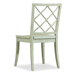 "Hooker Furniture - Hooker Furniture Sunset Point X Back Side Chair - Set of 2 - A dash of chic, an air of sophistication and a splash of color make Sunset Point as stunning as it is unforgettable. Three designer finishes, sweeping scale and soft organic cathedral white oak veneers come together in a casual cottage waterside furniture collection that is equally at home for lakeside or seaside. St. John's Blue finish. Wood seat. Rubberwood Solids and Poplar Veneers. Dimensions: 25.6""W x 23.6""D x 38""H."