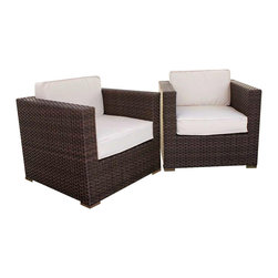 Amazonia - Bellagio Arm Chair w Off-white Cushion - Set of 2 - Set of 2. Aluminum and Synthetic Wicker frame. Free feron gard vinyl preservative for longest strap durability. It works great against the effects of air pollution salt air, and mildew growth. For best protection, perform this maintenance every season or as often as desired. Dark Brown Wicker. Off-white Cushion. Great functionality. Water Repellent Polyester Cushions. Warranty: 1 year. 31.5 in. W x 31.5 in. D x 27 in. HGreat quality, stylish design patio sets, made of aluminum and synthetic wicker. Polyester cushion with water repellant treatment. Enjoy your patio with elegance all year round with the wonderful Atlantic outdoor collection.